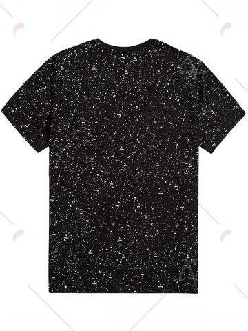 New Plus Size Splatter Printed Tee - 7XL BLACK Mobile
