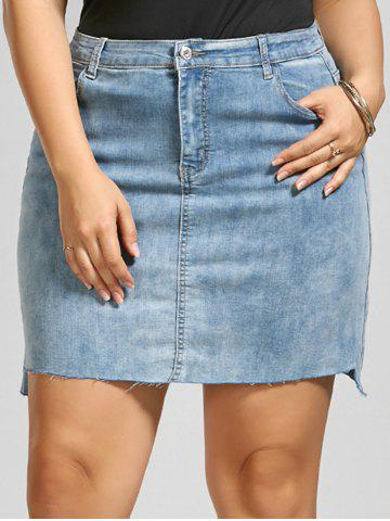 Fitted Plus Size Mini Denim Skirt - Denim Blue - 5xl