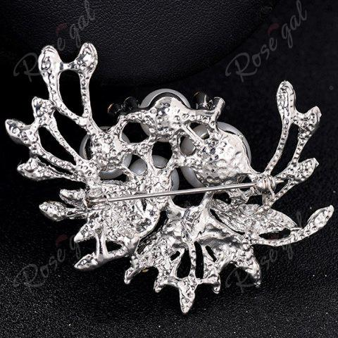 Outfits Rhinestone Inlay Floral Design Faux Pearl Brooch - SILVER  Mobile
