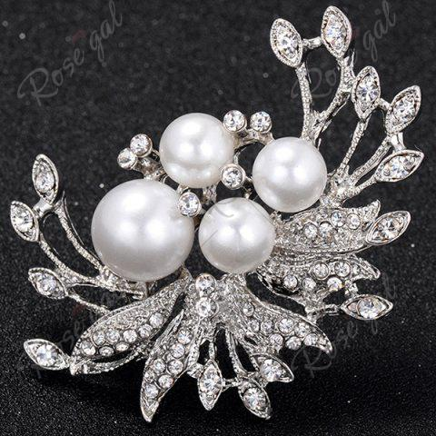 Latest Rhinestone Inlay Floral Design Faux Pearl Brooch - SILVER  Mobile