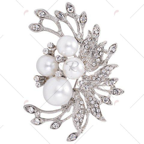 New Rhinestone Inlay Floral Design Faux Pearl Brooch - SILVER  Mobile