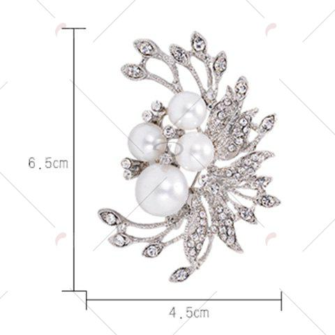 Store Rhinestone Inlay Floral Design Faux Pearl Brooch - SILVER  Mobile