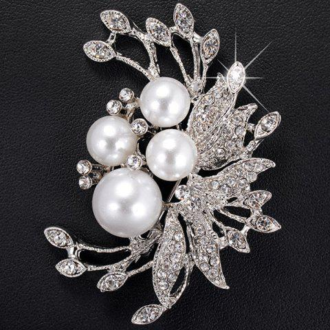 Rhinestone Inlay Floral Design Faux Pearl Brooch - Silver - One-size