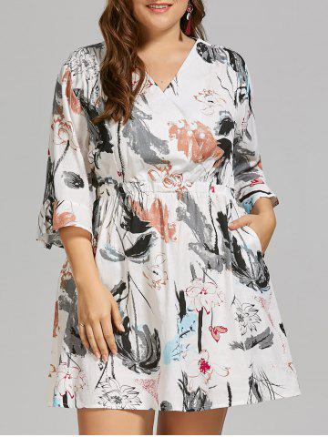 Plus Size Linen Ink Painting  Dress with Flare Sleeves - White - 4xl