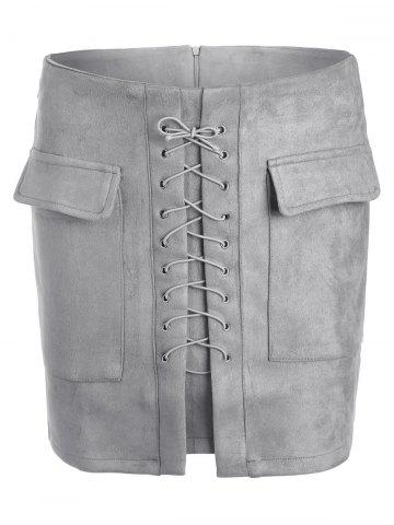 Unique Lace Up Pocket Suede Mini Bodycon Skirt - S GRAY Mobile