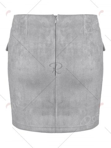 Best Lace Up Pocket Suede Mini Bodycon Skirt - S GRAY Mobile
