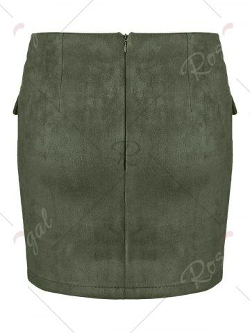 Fancy Lace Up Pocket Suede Mini Bodycon Skirt - XL ARMY GREEN Mobile