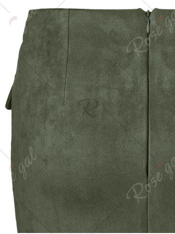 Store Lace Up Pocket Suede Mini Bodycon Skirt - XL ARMY GREEN Mobile