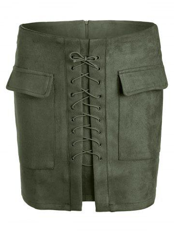Latest Lace Up Pocket Suede Mini Bodycon Skirt ARMY GREEN S