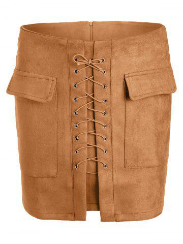Affordable Lace Up Pocket Suede Mini Bodycon Skirt - XL EARTHY Mobile