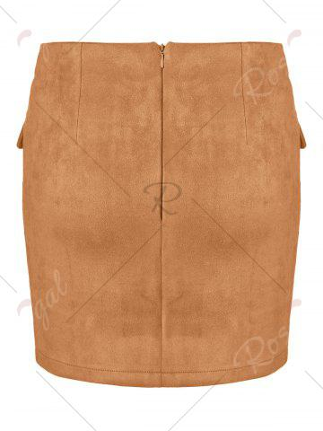New Lace Up Pocket Suede Mini Bodycon Skirt - XL EARTHY Mobile