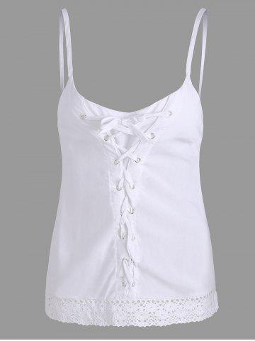 Lace Trim Criss Cross Cami Top - White - S
