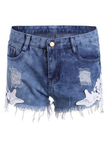 Outfit Lace Panel Ripped Denim Shorts