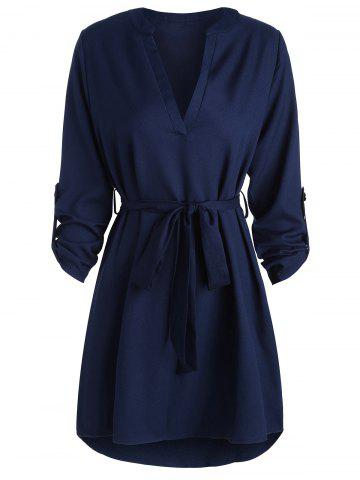 Chic V Neck High Low Long Sleeve Dress BLUE S
