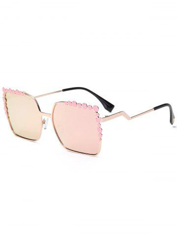 Fancy Rectangle UV Protection Sunglasses with Polka Dot - PINK  Mobile