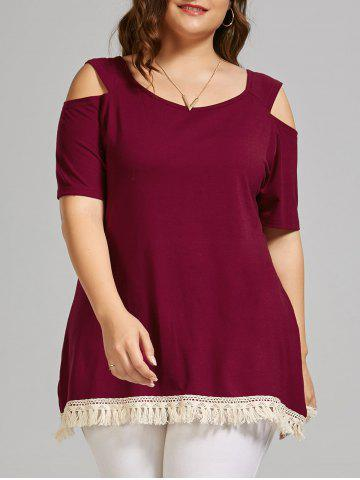 Outfits Plus Size Open Shoulder Long T-shirt with Tassel Trim - 2XL WINE RED Mobile