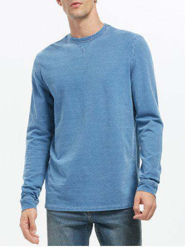 Plain Crew Neck Sweatshirt - Blue - Xl