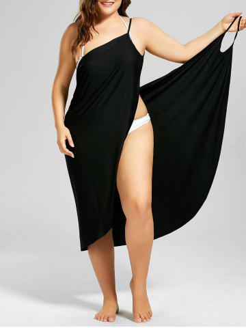 Cheap Beach Cover-up Plus Size Wrap Dress - BLACK 3XL Mobile