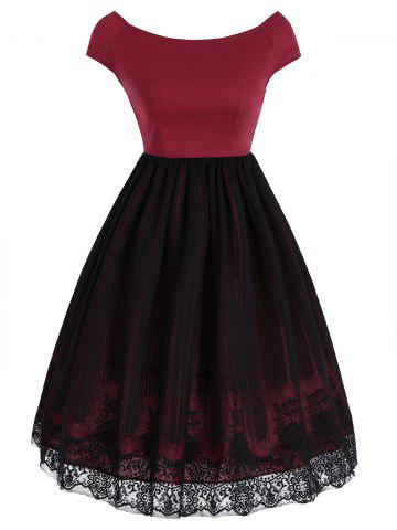 Robe superposée Vintage Lace Panel Overlay Rouge S