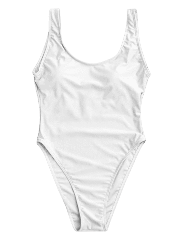 Online Backless High Cut One Piece Swimwear - L WHITE Mobile