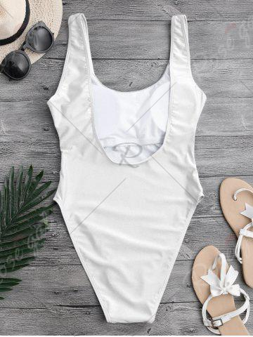 Sale Backless High Cut One Piece Swimwear - L WHITE Mobile