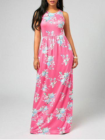Maxi Floral Racerback Semi Formal Prom Dress - Pink - Xl