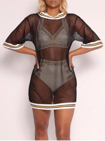 Chic Hooded Fishnet Cover Up