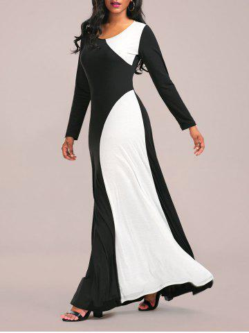 Long Sleeve Two Tone Maxi Jersey Dress - White And Black - 2xl
