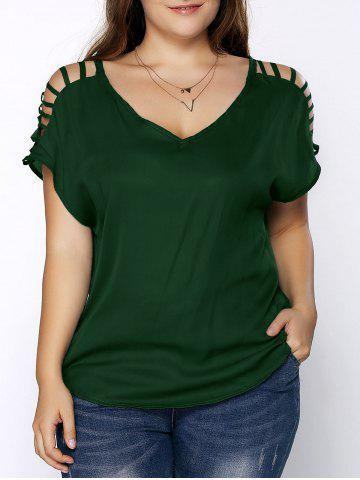 5d4441b01084f Plus Size V Neck Ripped Sleeve Tee