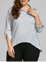 Plus Size Button Up Long Sleeve Shirt