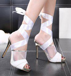 High Heel Sandals with Ribbon Tie