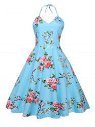 Vintage Halter Backless Floral Print Dress