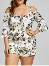 Spaghetti Strap Floral Cold Shoulder Plus Size Romper - WHITE