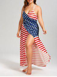 American Flag Plus Size Wrap Cover Up Dress