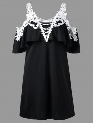 Overlay Crochet Trim Cold Shoulder Dress - WHITE AND BLACK
