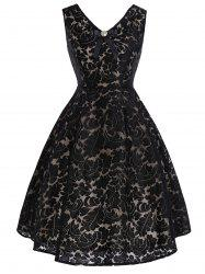 Bowknot Lace Vintage Fit and Flare Dress