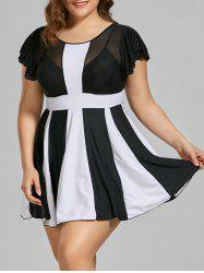 Padded Two Tone High Waisted Plus Size Swimdress