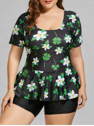 Plus Size Floral Padded Bathing Suit -