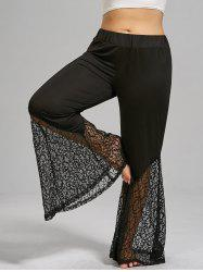 Plus Size Lace Crochet Panel Bell Bottom Pants - BLACK