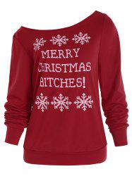 Snowflake and Letter Print Christmas Sweatshirt -