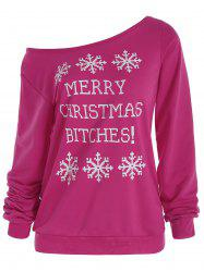Snowflake and Letter Print Christmas Sweatshirt