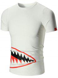 Shark Mouth Print Short Sleeve T-shirt