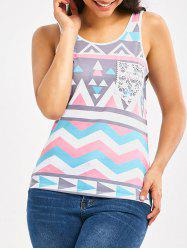 Front Lace Pocket Geometric Tank Top