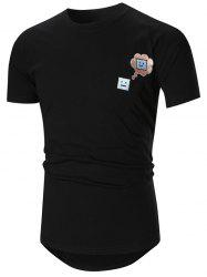 Face Embroidered High-Low Hem T-shirt