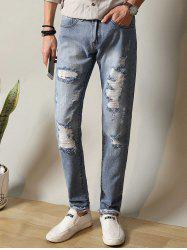 Metal Loop Zipper Fly Straight Leg Ripped Jeans