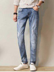 Zipper Fly Distressed Straight Leg Applique Jeans