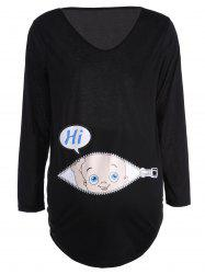 Baby Pattern V Neck Long Sleeve Tee