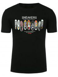Short Sleeve Cartoon Sneakers Print T-shirt