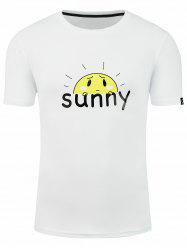 Short Sleeve Cartoon Sunshine Graphic Print T-shirt