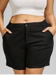 Plus Size Mini Shorts with Pockets - BLACK